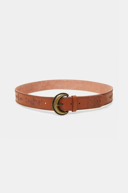 Half moon buckle embossed belt