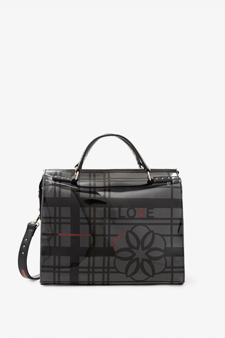 Handbag with grid and flower