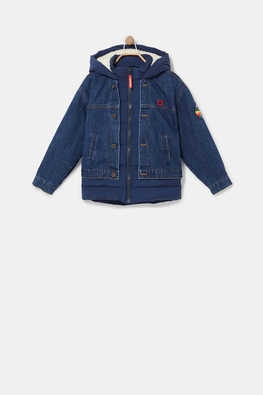 Short bimaterial hooded jacket - BLUE - 13/14