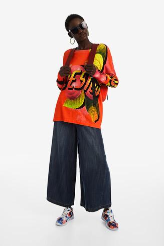Oversize-Sweatshirt mit Blumen