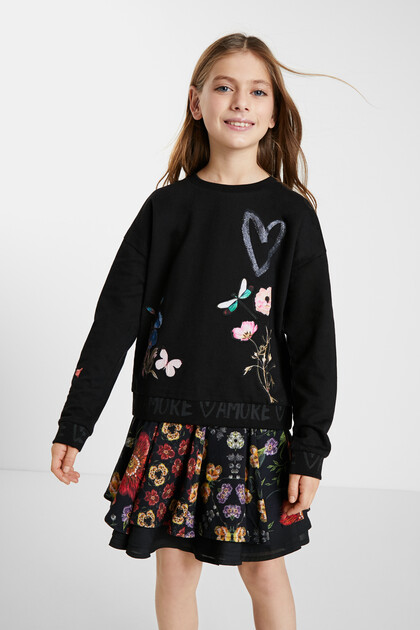Plush sweatshirt flowers
