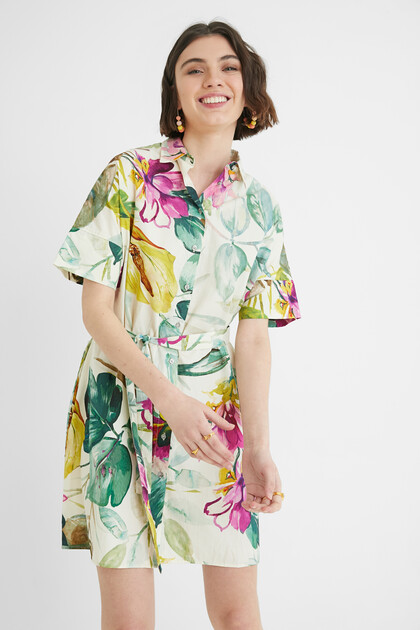 Safari floral shirt dress