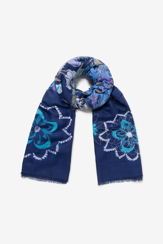 Frayed rectangular scarf | Desigual