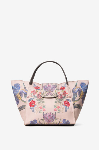Tote bag with embroidered and painted flowers