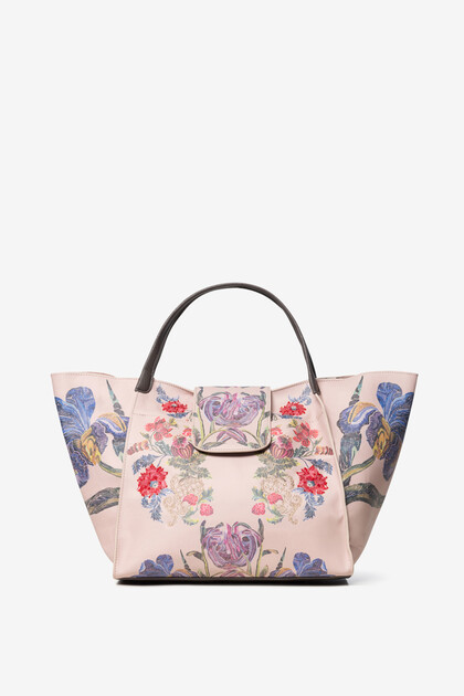 Tote bag à fleurs brodées et peintes