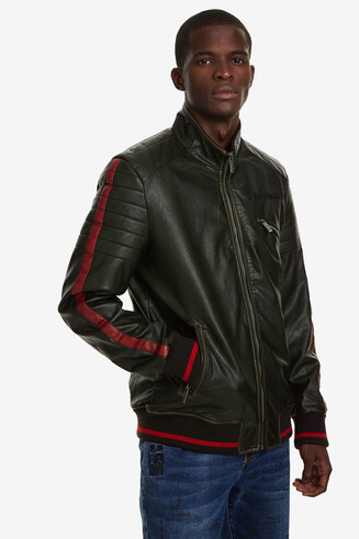 High-neck biker jacket