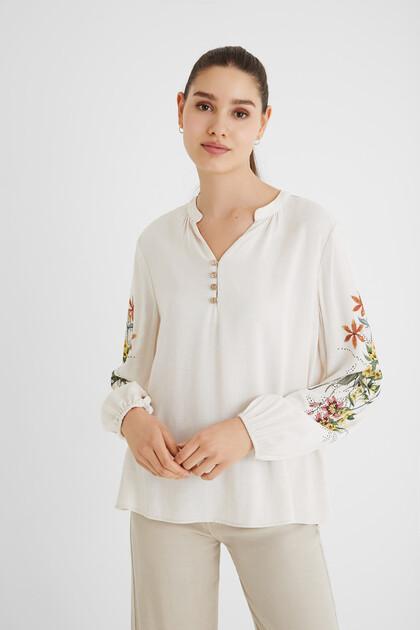 Blusa lino crochet schiena