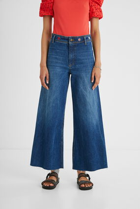 Wide leg ankle grazer jeans