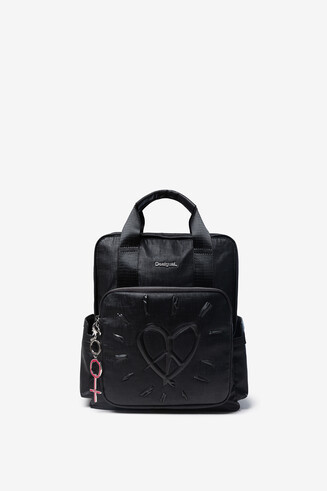 Synthetic leather backpack heart