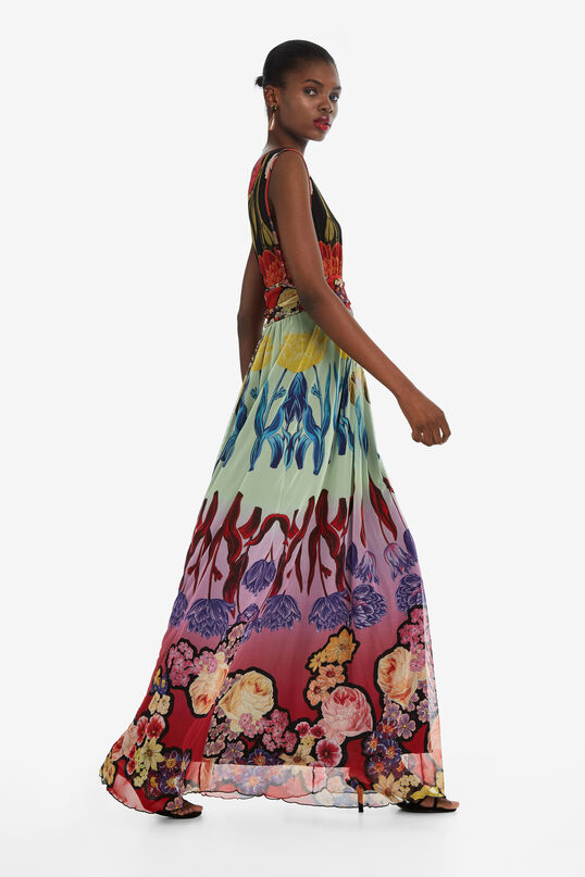 Long V-neck Dress Clavelitos Designed by M. Christian Lacroix | Desigual