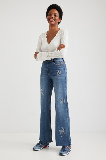 Flared wide leg jeans