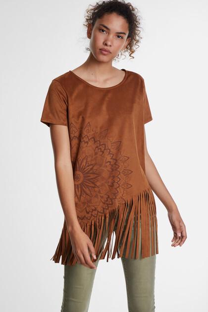 Gebloemd T-shirt met franjes