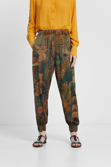 Długie spodnie cargo w kwiaty | Desigual