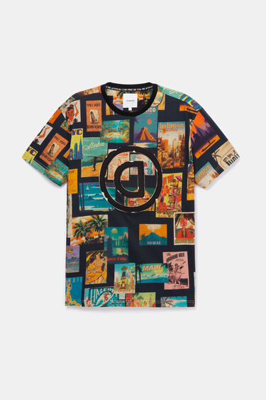 Vintage and logo post cards T-shirt | Desigual