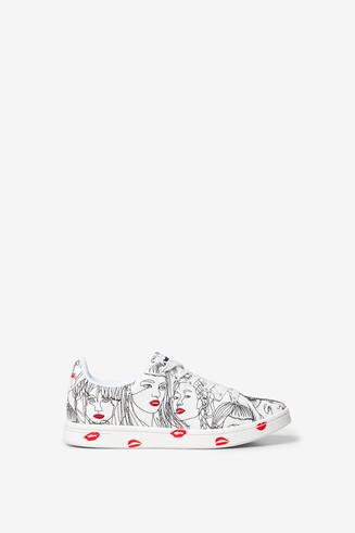 Cosmic print faces sneakers