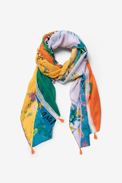 Foulard with floral bands and message