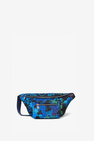 Padded sling bag with floral camouflage