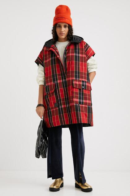 Tartan poncho vest