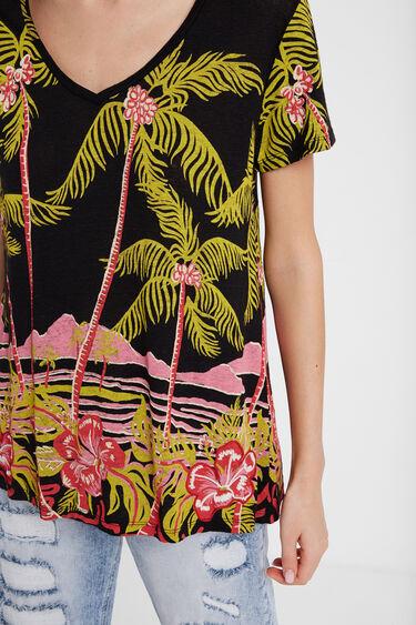 Hawaiian design linen T-shirt | Desigual