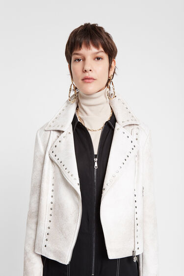 Biker jacket with fringe and studs | Desigual