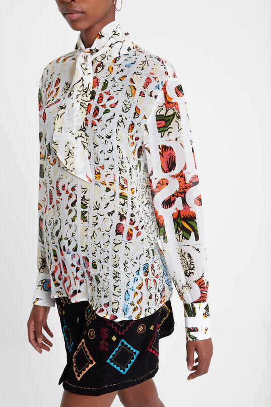 Viscose and silk blouse with neck tie Designed by M. Christian Lacroix | Desigual
