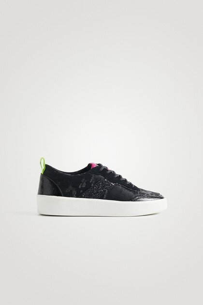 Synthetic leather sneakers camouflage glitter