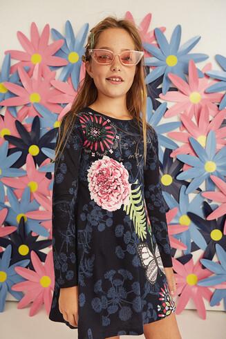 Vestito arricciato svasato floreale