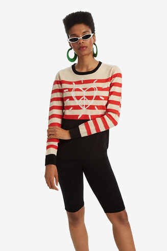 Round-neck striped jumper