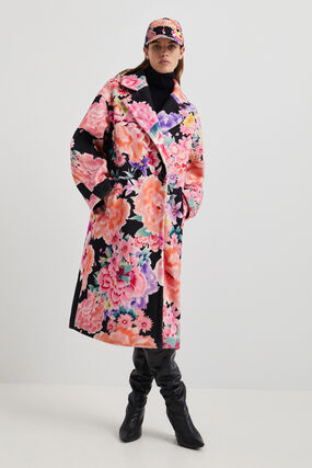 Floral oversized trench coat