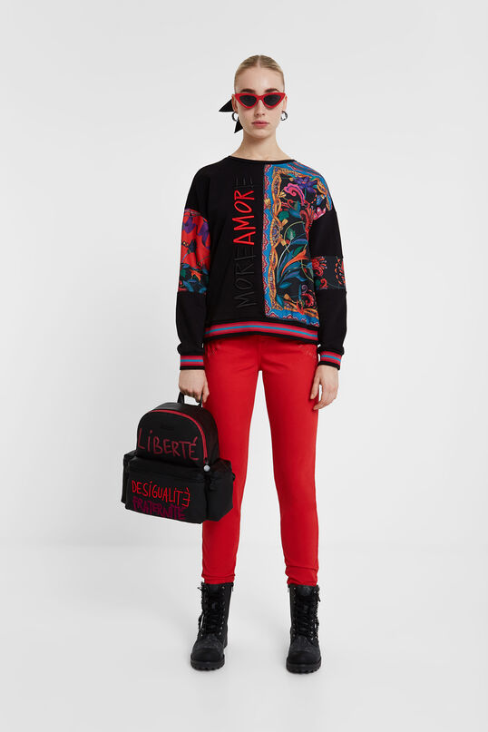 Soul mate print cotton sweatshirt | Desigual