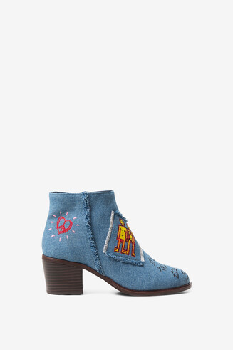 Block heel denim ankle boot