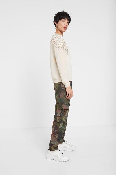 Fine jumper with leaves in rhinestones | Desigual