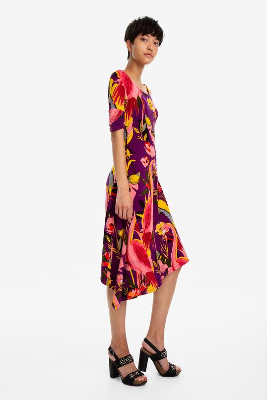 Asymmetrische jurk flamingo's Grace   Desigual