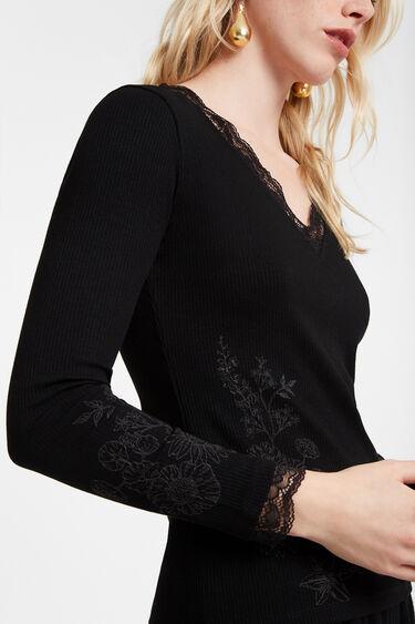 Geripptes T-Shirt mit Spitze und Blumen | Desigual