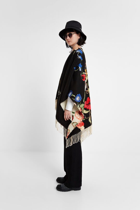 Reversible crossed poncho | Desigual