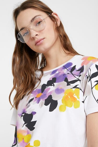 Floral T-shirt with watercolour effect lilies   Desigual