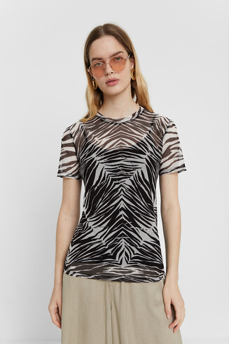 Sheer zebra T-shirt