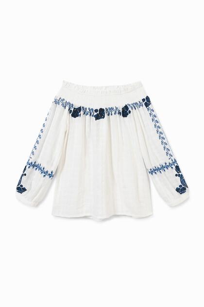 Geborduurde off-the-shoulder-blouse