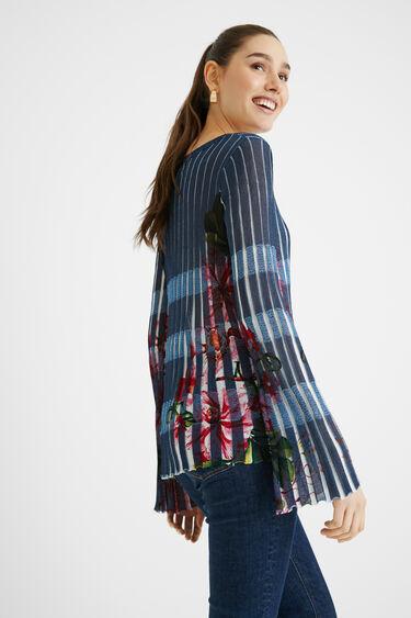 Gemusterter Plissee-Pullover | Desigual