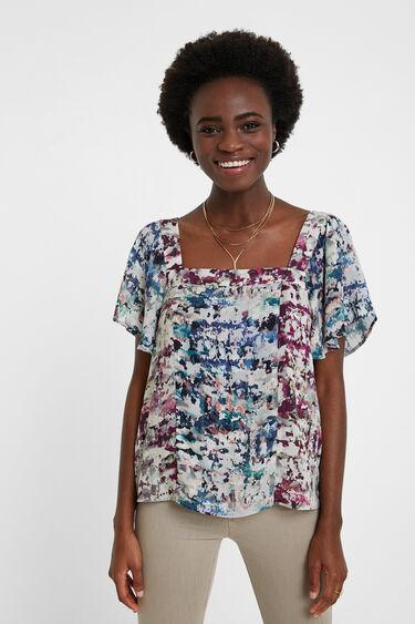 Camouflage blouse flounces   Desigual