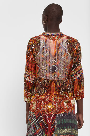 Transparente Bluse mit Boho-Print   Desigual