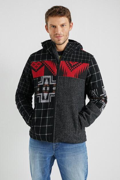 Veste laine mélangée capuche