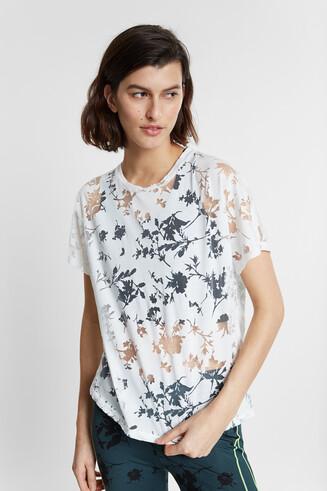 Camiseta orgánica floral en devoré y transparencias
