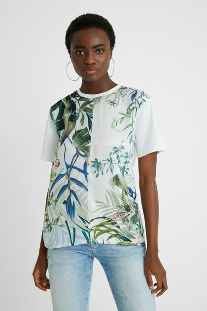 Bimaterial tropical T-shirt