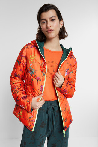 Reversible and folding floral jacket