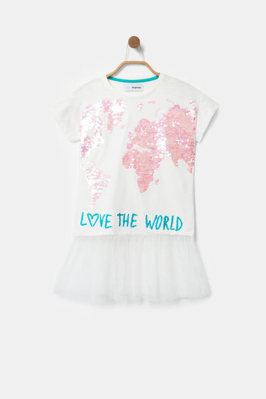 T-shirt mappemonde paillettes réversibles et jupe | Desigual