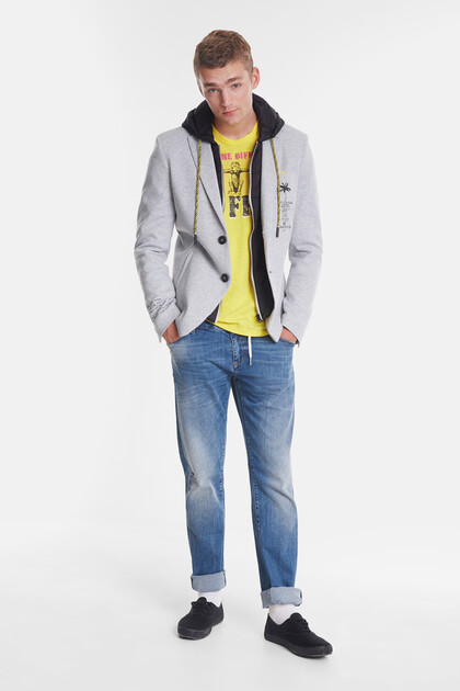 Hybrid sport jacket with hood