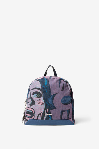 Comic denim backpack