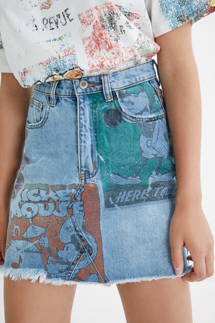 Denim mini-skirt illustrations - Mickey Mouse
