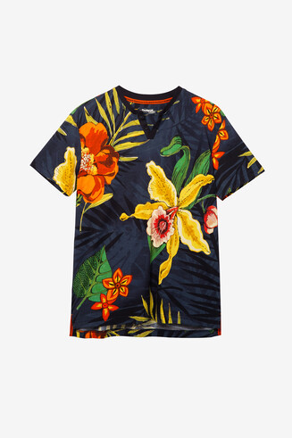 T-shirt bleu à fleurs Juan